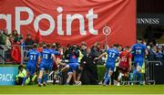 18 May 2019; James Lowe of Leinster scores his side's second try during the Guinness PRO14 semi-final match between Leinster and Munster at the RDS Arena in Dublin. Photo by Diarmuid Greene/Sportsfile