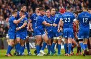 18 May 2019; Leinster players celebrate after winning a scrum penalty during the Guinness PRO14 semi-final match between Leinster and Munster at the RDS Arena in Dublin. Photo by Diarmuid Greene/Sportsfile