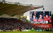 18 May 2019; Munster forwards coach Jerry Flannery, backline and attack coach Felix Jones and head coach Johann van Graan are seen on the big screen during the final moments of the Guinness PRO14 semi-final match between Leinster and Munster at the RDS Arena in Dublin. Photo by Diarmuid Greene/Sportsfile