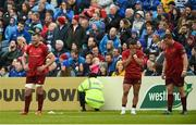 18 May 2019; Munster players Andrew Conway, Peter O'Mahony, Alby Mathewson, and Stephen Archer react after conceding their side's second try during the Guinness PRO14 semi-final match between Leinster and Munster at the RDS Arena in Dublin. Photo by Diarmuid Greene/Sportsfile