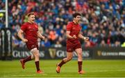 18 May 2019; Joey Carbery, right, and Rory Scannell of Munster celebrate winning a turnover during the Guinness PRO14 semi-final match between Leinster and Munster at the RDS Arena in Dublin. Photo by Diarmuid Greene/Sportsfile