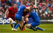 18 May 2019; Rory Scannell of Munster is tackled by Garry Ringrose, left, and Devin Toner of Leinster during the Guinness PRO14 semi-final match between Leinster and Munster at the RDS Arena in Dublin. Photo by Diarmuid Greene/Sportsfile