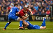 18 May 2019; Mike Haley of Munster is tackled by Luke McGrath, left, and Garry Ringrose of Leinster during the Guinness PRO14 semi-final match between Leinster and Munster at the RDS Arena in Dublin. Photo by Diarmuid Greene/Sportsfile
