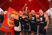 18 May 2019; Karen Hurley, Senior Brand Manager, Hula Hoops, presents the trophy to Shane O'Connor, Daniel Stewart, Tomas Banys, and Conall Mullan of Ulster University Elks Basketball after the won the Mens Final at the second annual Hula Hoops 3x3 Basketball Championships at Bray Seafront in Co. Wicklow. Photo by Ray McManus/Sportsfile