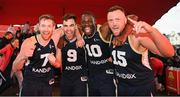 18 May 2019; Ulster University Elks Basketball players, from left, Shane O'Connor, Conall Mullan, Daniel Stewart and Tomas Banys, celebrate after they won the Mens Final at the second annual Hula Hoops 3x3 Basketball Championships at Bray Seafront in Co. Wicklow. Photo by Ray McManus/Sportsfile