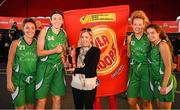 18 May 2019; Karen Hurley, Senior Brand Manager, Hula Hoops presents the winners of the Women's Final Karen Mealey, Aine O'Connor, Aine O'Connor and Ciara Bracken of Liffey Celtics Basketball Club after the second annual Hula Hoops 3x3 Basketball Championships at Bray Seafront in Co. Wicklow. Photo by Ray McManus/Sportsfile