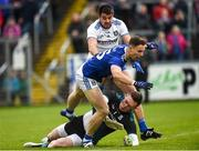 18 May 2019; Conor Madden of Cavan involved in an incident with Rory Beggan of Monaghan which resulted in a first half penalty as Drew Wylie of Monaghan closes in during the Ulster GAA Football Senior Championship quarter-final match between Cavan and Monaghan at Kingspan Breffni in Cavan. Photo by Oliver McVeigh/Sportsfile