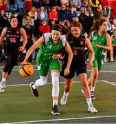 18 May 2019; Aine O'Connor of Liffey Celtics Basketball Club in action against Megan Dunne of IT Carlow Basketball during the second annual Hula Hoops 3x3 Basketball Championships at Bray Seafront in Co.Wicklow. Photo by Ray McManus/Sportsfile