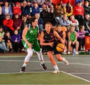 18 May 2019; Megan Dunne of IT Carlow Basketball in action against Aine O'Connor of Liffey Celtics Basketball Club during the second annual Hula Hoops 3x3 Basketball Championships at Bray Seafront in Co.Wicklow. Photo by Ray McManus/Sportsfile