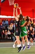 18 May 2019; Aoife Whelan of IT Carlow Basketball in action against Ciara Bracken of Liffey Celtics Basketball Club at the second annual Hula Hoops 3x3 Basketball Championships at Bray Seafront in Co.Wicklow. Photo by Ray McManus/Sportsfile