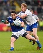 18 May 2019; Conor Moynagh of Cavan in action against Paudie McKenna of Monaghan during the Ulster GAA Football Senior Championship quarter-final match between Cavan and Monaghan at Kingspan Breffni in Cavan. Photo by Oliver McVeigh/Sportsfile