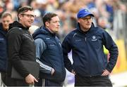 18 May 2019; Malachy O'Rourke, Monaghan Manager, right, Ryan Porter Monaghan selector, centre and Francis Ward Monaghan secretary during the Ulster GAA Football Senior Championship quarter-final match between Cavan and Monaghan at Kingspan Breffni in Cavan. Photo by Oliver McVeigh/Sportsfile