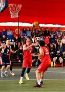 18 May 2019; Daniel Stewart of Ulster University Elks Basketball in action against Stephen James and Neil Randolph of Templeogue Basketball Club during the second annual Hula Hoops 3x3 Basketball Championships at Bray Seafront in Co. Wicklow. Photo by Ray McManus/Sportsfile