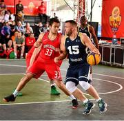 18 May 2019; Tomas Banys of Ulster University Elks Basketball in action against Neil Randolph of Templeogue Basketball Club during the second annual Hula Hoops 3x3 Basketball Championships at Bray Seafront in Co.Wicklow. Photo by Ray McManus/Sportsfile