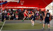 18 May 2019; Lorcan Murphy of Templeogue Basketball Club in action against Shane O'Connor, Daniel Stewart, 10, and Tomas Banys, 15, of Ulster University Elks Basketball during the second annual Hula Hoops 3x3 Basketball Championships at Bray Seafront in Co.Wicklow. Photo by Ray McManus/Sportsfile