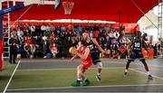 18 May 2019; Lorcan Murphy of Templeogue Basketball Club in action against Tomas Banys and Daniel Stewart, 10, of Ulster University Elks Basketball during the second annual Hula Hoops 3x3 Basketball Championships at Bray Seafront in Co.Wicklow. Photo by Ray McManus/Sportsfile