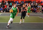 18 May 2019; Aine O'Connor of Liffey Celtics Basketball Club in action against Felicia DaCruz of IT Carlow Basketball during the second annual Hula Hoops 3x3 Basketball Championships at Bray Seafront in Co.Wicklow. Photo by Ray McManus/Sportsfile