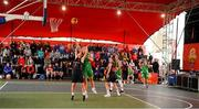 18 May 2019; Aoife Whelan of IT Carlow Basketball in action against Ailbhe O'Connor of Liffey Celtics Basketball Club during the second annual Hula Hoops 3x3 Basketball Championships at Bray Seafront in Co.Wicklow. Photo by Ray McManus/Sportsfile