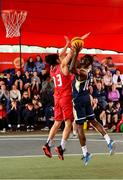 18 May 2019; Daniel Stewart of Ulster University Elks Basketball  in action against Neil Randolph of Templeogue Basketball Club during the second annual Hula Hoops 3x3 Basketball Championships at Bray Seafront in Co.Wicklow. Photo by Ray McManus/Sportsfile