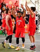 18 May 2019; Puff Summers of Templeogue Basketball Club celebrats with team mates Stephen James, left, and Neil Randolph during the second annual Hula Hoops 3x3 Basketball Championships at Bray Seafront in Co.Wicklow. Photo by Ray McManus/Sportsfile
