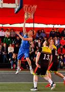 18 May 2019; Shane Davidson of DCU Saints in action against Ian Lynch, 13, and Roland Vailuls of IT Carlow Basketball during the second annual Hula Hoops 3x3 Basketball Championships at Bray Seafront in Co.Wicklow. Photo by Ray McManus/Sportsfile