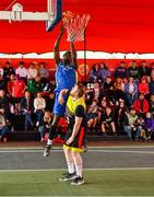 18 May 2019; Martin Provizors of DCU Saints in action against Ian Lynch of IT Carlow Basketball during the second annual Hula Hoops 3x3 Basketball Championships at Bray Seafront in Co.Wicklow. Photo by Ray McManus/Sportsfile