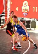 18 May 2019; Graham Brannelly of DCU Saints in action against Roland Vailuls of IT Carlow Basketball during the second annual Hula Hoops 3x3 Basketball Championships at Bray Seafront in Co.Wicklow. Photo by Ray McManus/Sportsfile