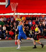 18 May 2019; Shane Davidson of DCU Saints in action against Roland Vailuls of IT Carlow Basketball and Calum Sourke, right, during the second annual Hula Hoops 3x3 Basketball Championships at Bray Seafront in Co.Wicklow. Photo by Ray McManus/Sportsfile
