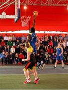 18 May 2019;  Michael Bonaparte of DCU Saints in action against Ian Lynch and Calum Sourke of IT Carlow Basketball during the second annual Hula Hoops 3x3 Basketball Championships at Bray Seafront in Co.Wicklow. Photo by Ray McManus/Sportsfile