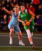 18 May 2019; Aine O'Connor of Liffey Celtics Basketball Club in action against Aisling Sullivan of DCU Mercy Basketball Club  during a semi-final at the second annual Hula Hoops 3x3 Basketball Championships at Bray Seafront in Co.Wicklow. Photo by Ray McManus/Sportsfile