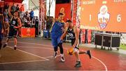 18 May 2019; Tomas Banys of Ulster University Elks Basketball in action against Martin Provizors of DCU Saints  during the second annual Hula Hoops 3x3 Basketball Championships at Bray Seafront in Co.Wicklow. Photo by Ray McManus/Sportsfile