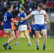 18 May 2019; Martin Reilly of Cavan shakes hands with Niall Kearns of Monaghan after the Ulster GAA Football Senior Championship quarter-final match between Cavan and Monaghan at Kingspan Breffni in Cavan. Photo by Daire Brennan/Sportsfile