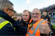 18 May 2019; Cavan Manager Mickey Graham along with his father Mickey Graham senior, celebrate after the Ulster GAA Football Senior Championship quarter-final match between Cavan and Monaghan at Kingspan Breffni in Cavan. Photo by Oliver McVeigh/Sportsfile