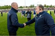 18 May 2019; Monaghan Manager Malachy O'Rourke and Cavan Manager Mickey Graham shakes hands after the Ulster GAA Football Senior Championship quarter-final match between Cavan and Monaghan at Kingspan Breffni in Cavan. Photo by Oliver McVeigh/Sportsfile