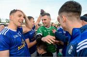 18 May 2019; Conor Madden, Dara McVetty and Raymond Galligan of Cavan celebrate after the Ulster GAA Football Senior Championship quarter-final match between Cavan and Monaghan at Kingspan Breffni in Cavan. Photo by Oliver McVeigh/Sportsfile