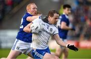 18 May 2019; Conor Boyle of Monaghan in action against Cian Mackey of Cavan during the Ulster GAA Football Senior Championship quarter-final match between Cavan and Monaghan at Kingspan Breffni in Cavan. Photo by Oliver McVeigh/Sportsfile