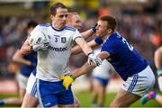18 May 2019; Conor Boyle of Monaghan in action against Cian Mackey and Jason McLoughlin of Cavan during the Ulster GAA Football Senior Championship quarter-final match between Cavan and Monaghan at Kingspan Breffni in Cavan. Photo by Oliver McVeigh/Sportsfile