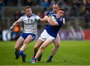 18 May 2019; Ciaran Brady of Cavan  in action against Colin Walshe of Monaghan during the Ulster GAA Football Senior Championship quarter-final match between Cavan and Monaghan at Kingspan Breffni in Cavan. Photo by Oliver McVeigh/Sportsfile