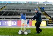 18 May 2019; Seamus Galligan maintenance manager of Kingspan Breffni Park lifting the flags after the Ulster GAA Football Senior Championship quarter-final match between Cavan and Monaghan at Kingspan Breffni in Cavan. Photo by Oliver McVeigh/Sportsfile