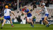 19 May 2019; Paudie Kinane of Tipperary in action against Jack Ó Floinn, 2, Rory Furlong and Seán Burke of Waterford, during the Electric Ireland Munster Minor Hurling Championship match between Tipperary and Waterford at Semple Stadium, Thurles in Tipperary. Photo by Ray McManus/Sportsfile