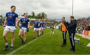 18 May 2019; Cavan players Gearoid McKiernan and Martin Reilly speak to Cavan Manager Mickey Graham during the pre match parade before the Ulster GAA Football Senior Championship quarter-final match between Cavan and Monaghan at Kingspan Breffni in Cavan. Photo by Oliver McVeigh/Sportsfile