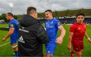 18 May 2019; Jonathan Sexton of Leinster celebrates with Cian Healy following the Guinness PRO14 semi-final match between Leinster and Munster at the RDS Arena in Dublin. Photo by Ramsey Cardy/Sportsfile