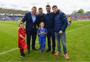 18 May 2019; Matchday mascot 7 year old Annie Kerin with Leinster players Jack McGrath, Rob Kearney and Fergus McFadden at the Guinness PRO14 semi-final match between Leinster and Munster at the RDS Arena in Dublin. Photo by Ramsey Cardy/Sportsfile