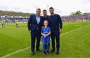 18 May 2019; Matchday mascot 8 year old Hattie Farrell with Leinster players Jack McGrath, Rob Kearney and Fergus McFadden at the Guinness PRO14 semi-final match between Leinster and Munster at the RDS Arena in Dublin. Photo by Ramsey Cardy/Sportsfile