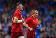 18 May 2019; Peter O'Mahony, left, and Keith Earls of Munster during the Guinness PRO14 semi-final match between Leinster and Munster at the RDS Arena in Dublin. Photo by Ramsey Cardy/Sportsfile