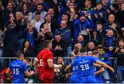 18 May 2019; James Lowe of Leinster celebrates with team-mates after scoring his side's second try during the Guinness PRO14 semi-final match between Leinster and Munster at the RDS Arena in Dublin. Photo by Ramsey Cardy/Sportsfile