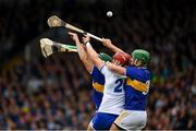 19 May 2019; Maurice Shanahan and Shane Bennett of Waterford contest a dropping ball with Tipperary defenders James Barry, 3, and Cathal Barrett during the Munster GAA Hurling Senior Championship Round 2 match between Tipperary and Waterford at Semple Stadium, Thurles in Tipperary. Photo by Ray McManus/Sportsfile