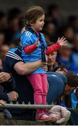 19 May 2019; Dublin supporter Kate Shanagher, aged 4, from Swords, Co Dublin, celebrates a score during the Leinster GAA Hurling Senior Championship Round 2 match between Dublin and Wexford at Parnell Park in Dublin. Photo by Daire Brennan/Sportsfile