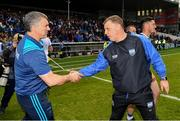 19 May 2019; Tipperary manager Liam Sheedy and Waterford manager Paraic Fanning afterthe Munster GAA Hurling Senior Championship Round 2 match between Tipperary and Waterford at Semple Stadium, Thurles in Tipperary. Photo by Ray McManus/Sportsfile
