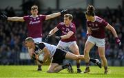 19 May 2019; Adrian McIntyre of Sligo in action against Liam Silke and Kieran Molloy of Galway during the Connacht GAA Football Senior Championship semi-final match between Sligo and Galway at Markievicz Park in Sligo. Photo by Harry Murphy/Sportsfile